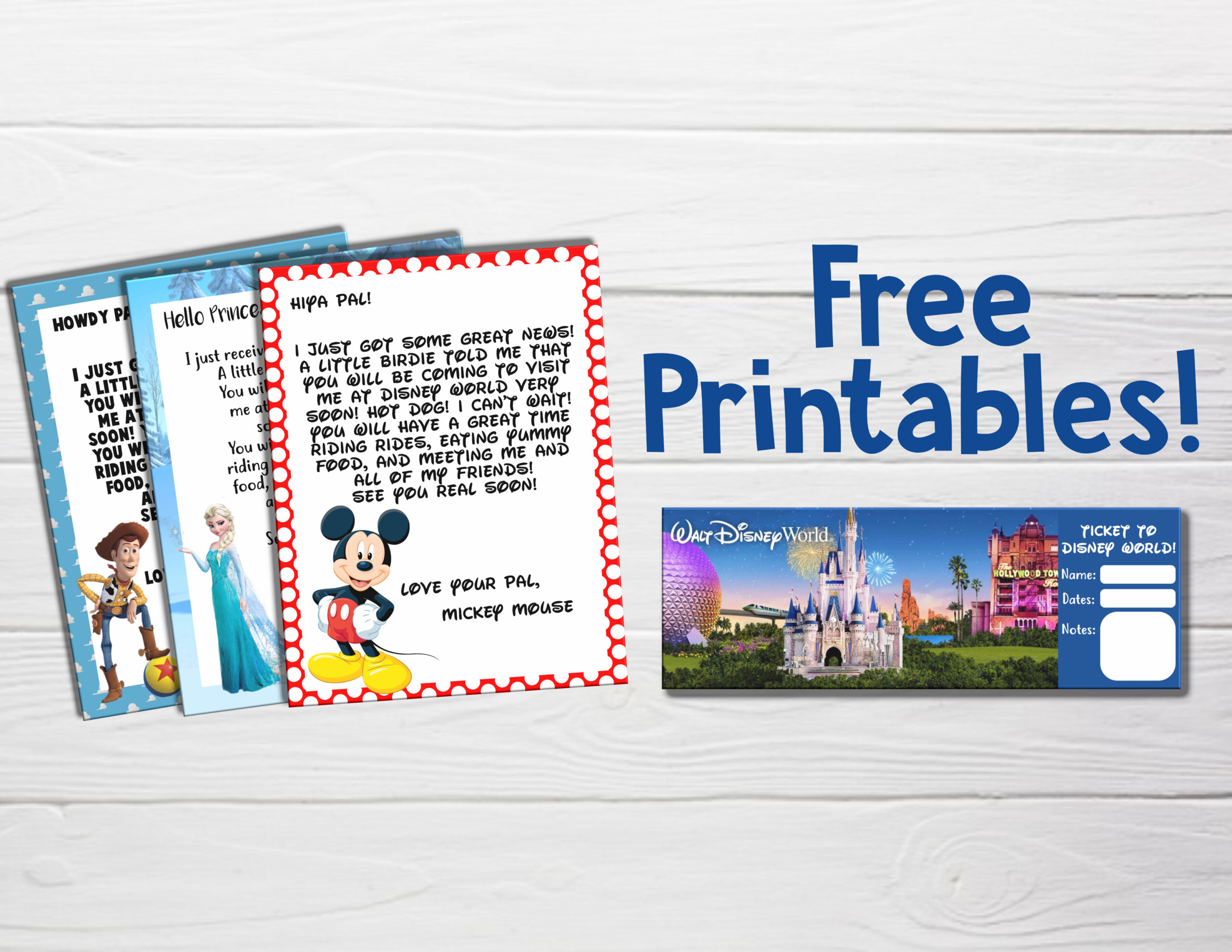 Free You Re Going To Disney World Printable Letters And Tickets Disney Dream Co